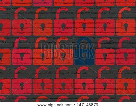 Security concept: rows of Painted red opened padlock icons around blue closed padlock icon on Black Brick wall background