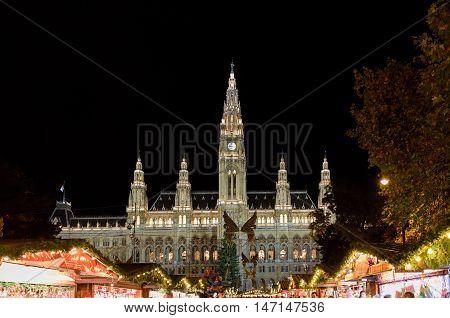 VIENNA, AUSTRIA - NOVEMBER 13, 2015: Traditional Christmas market at Rathaus at night, Austria