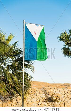 Waving National flag of Djibouti on flagpole