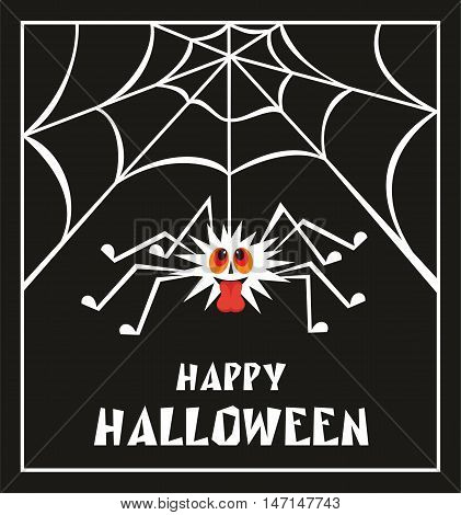 Halloween greeting card with the image of the perky spider