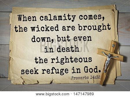 TOP- 100. Bible Verses about Hope.When calamity comes, the wicked are brought down, but even in death the righteous seek refuge in God.
