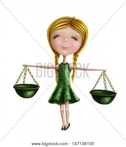 Libra astrological sign girl isolated on a white background