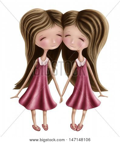 Gemini astrological sign girls isolated on a white background