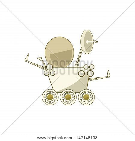 Planet Rover Isolated on White Background, Moonwalker, Vector Illustration