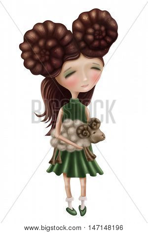 Aries astrological sign girl isolated on a white background