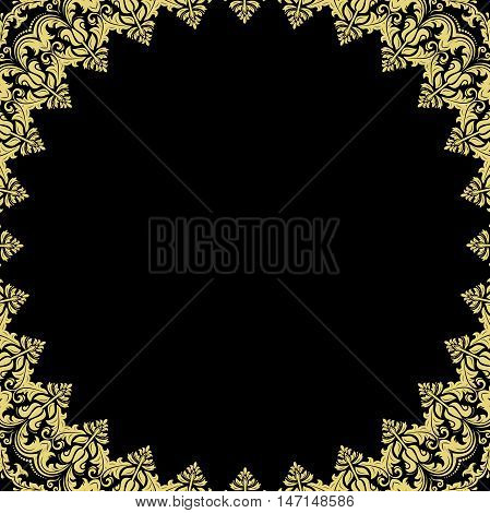 Classic vector square golden frame with arabesques and orient elements. Abstract fine ornament with place for text