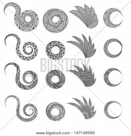 Ethnic floral zentangle, doodle background pattern circle, wings in vector. Henna paisley mehndi doodles design tribal design element. Black and white pattern for coloring book for adults and kids. Easy to recolor.
