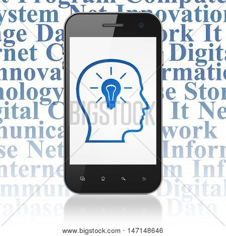 Information concept: Smartphone with  blue Head With Lightbulb icon on display,  Tag Cloud background, 3D rendering