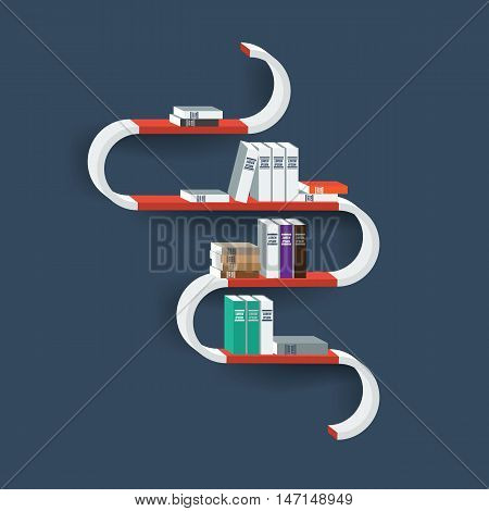 Vector creative Shelf Shelves Isolated on Wall Background. Books on shelf. Display Mock-up