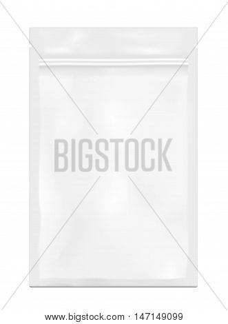 White empty plastic packaging with zipper. Blank foil sachet for food or drink.