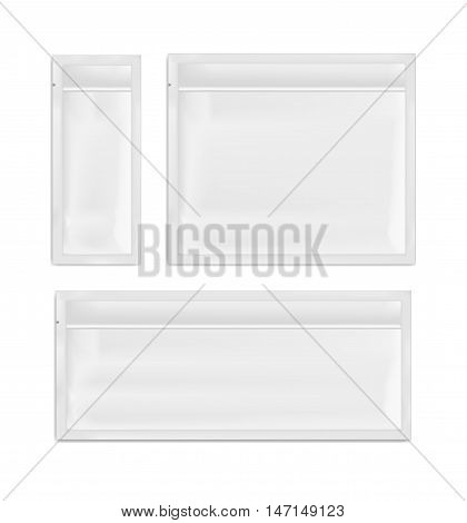 White empty plastic packaging. Blank foil sachet for food or medicines.