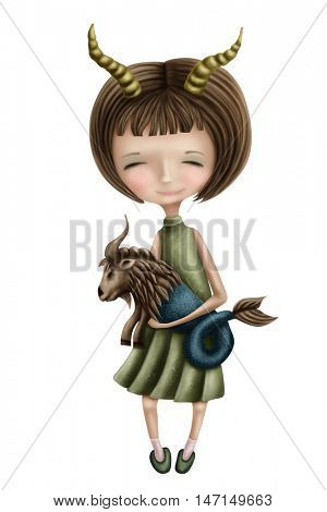 Capricorn astrological sign girl isolated on a white background