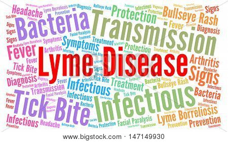 Lyme disease word cloud concept with a white background
