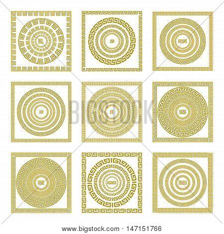 Vector Set Traditional Vintage Golden Square And Round Greek Ornament Meander Border Greece Gold
