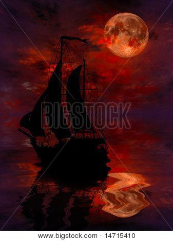 Illustration of a ship Sailing under full moon
