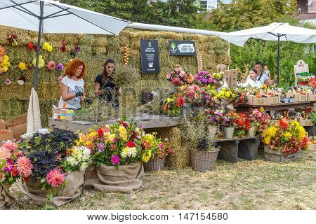 Kyiv Ukraine - September 10 2016: Local producers presented at the farmers market good food vegetables herbs and berries honey etc. Big farmer's market of healthy food was organized by Good Wine company.