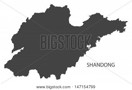 Shandong China Map in grey vector high res