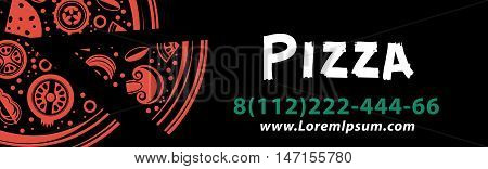 Vector banner-color pizza with a slice. Horizontal. On a black background. For your work.