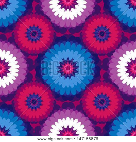 Vector floral seamless pattern in burgundy and blue colors. For the festive decoration of your work.