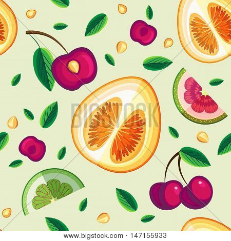 Vector seamless pattern with fruit slices and leaf
