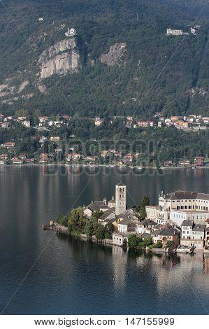 Orta Lake San Giulio and Madonna del Sasso Italy