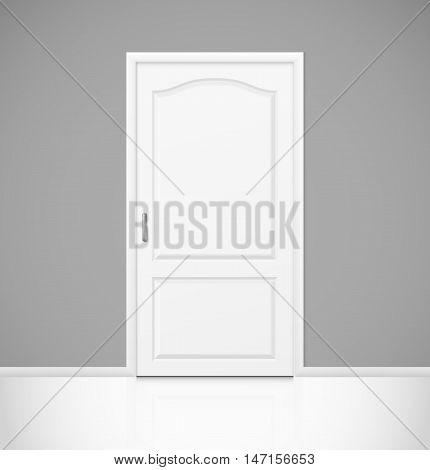 White realistic closed door in empty room interior. Vector illustration