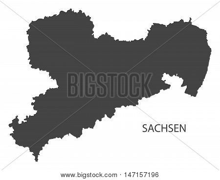Sachsen Germany Map grey vector high res