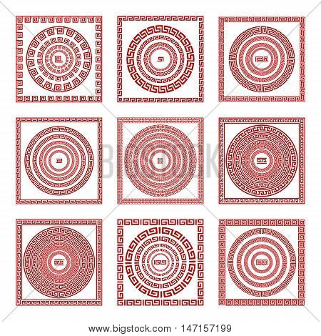 Vector Set Traditional Vintage Golden Square And Round Greek Ornament Meander Pattern On A Red Backg