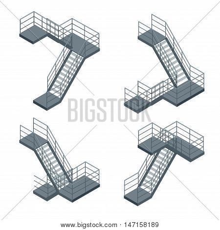 Isometric staircase. Vector Set of various metallic staircase on the white background.