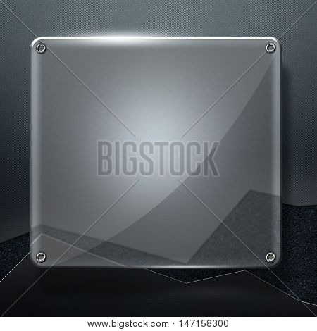 glossy glass with rivet on gray metal wall and concrete line. 3d illustration background.