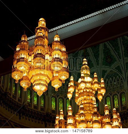 In Oman Muscat Old Mosque And The Antique Glass  Chandelier