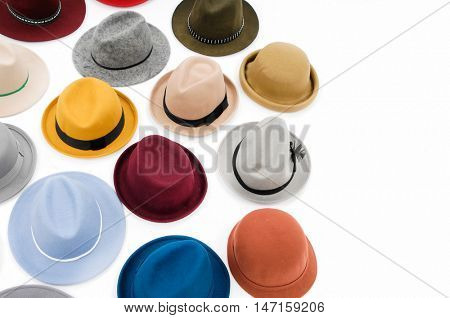 Top view many woman hat on white background