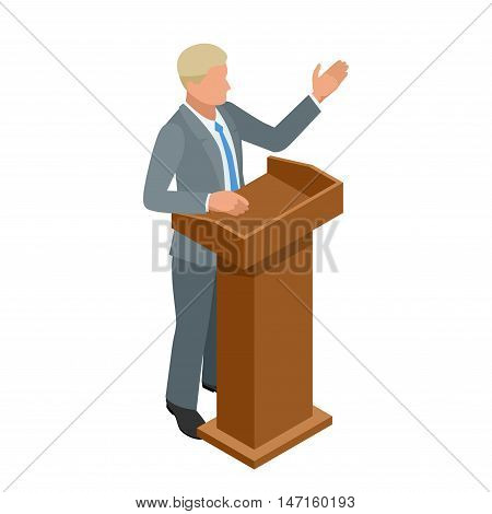 Business man giving a presentation in a conference or meeting setting. Orator speaking from tribune vector illustration