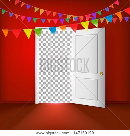 Open white door with transparent background on a red wall vector illustration. Party decor with colored flags.