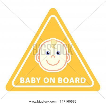 Baby on board sign on yellow triangle flat vector illustration