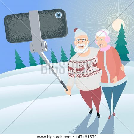 Group of old people making selfie photo with camera and stick on winter park background vector illustration. Senior people grandparents concept visual