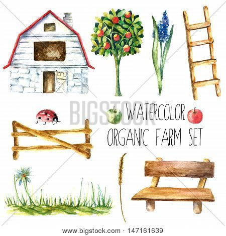 Watercolor organic farm. Hand drawn objects: house. tree, flower, stairs, bench, grass, fence, ladybug and spica isolated on white background.