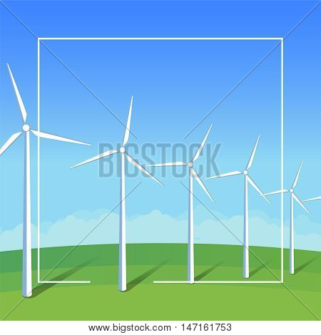 Square banner template electric windmills on green grass field on background blue sky. Ecology environmental illustration for presentations websites infographics. Flat vector art