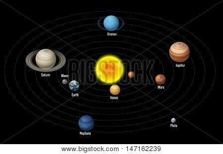 High quality isometric solar system planets. Isometric planets colorful vector set on dark background.