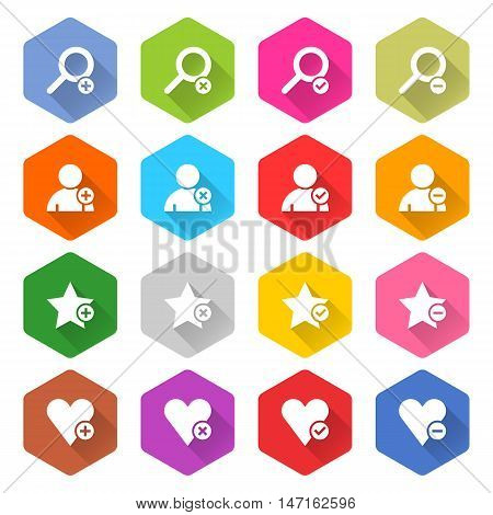 Flat addition icon 16 set rounded hexagon web button on white background. Simple minimalistic mono long shadow style. Vector illustration internet design graphic element 10 eps