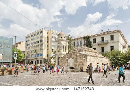 ATHENS, GREECE, SEPTEMBER 9,2016: Exterior shot of The Church of the Pantanassa,the 10th-century katholikon of a now-vanished monastery in Monastiraki Square, between Athinas and Mitropoleos streets.