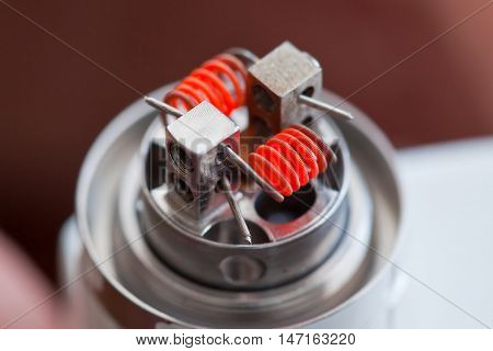 Preheat spiral of clapton coil mounted in the electronic cigarette.