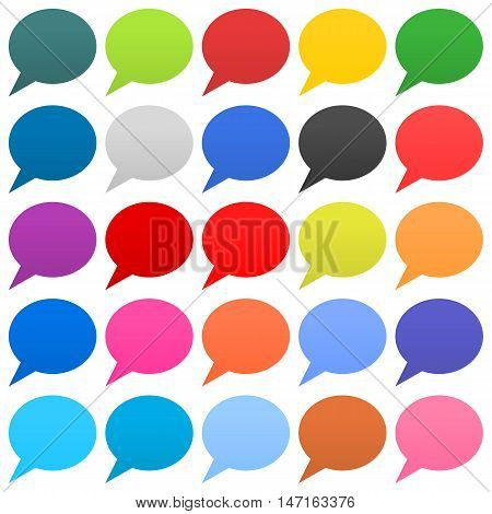 Flat 25 speech bubble sign web icon circle shape on white background. Empty buttons in popular soft colors. Newest simple modern minimal metro style. Internet design element vector illustration 8 eps