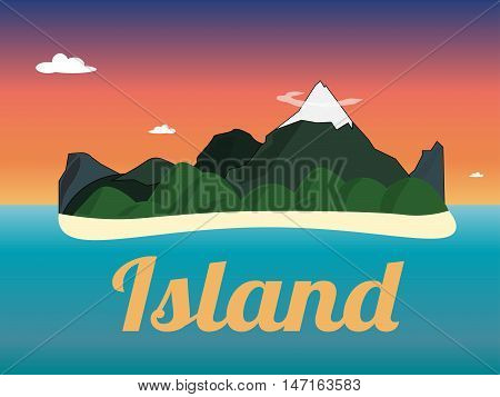 Travel mountains island landscape color flat vector icon nature weather concept template. Stylish trendy outdoor tourism rest vacation. Flat landscapes collection