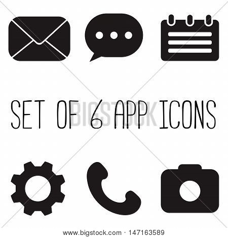 Set of 6 black app icons. Mail message calendar settings cogwheel phone camera. Six vector illustrations.