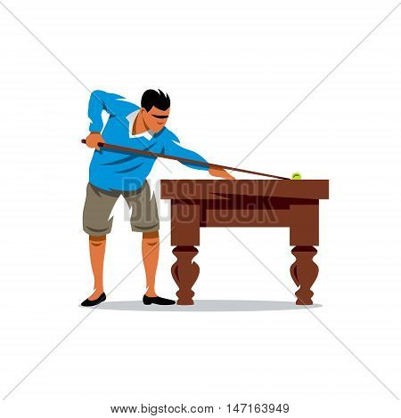 Man with cue. Isolated on a white background
