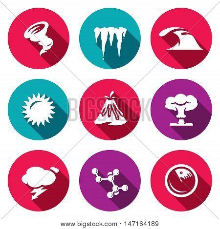 Hurricane, Icicles, Wave, Sun Volcanoe Nuclear Explosion Lightning Bacteria Radar
