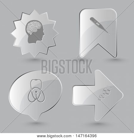 4 images: human brain, thermometer, stethoscope, dna. Medical set. Glass buttons on gray background. Vector icons.
