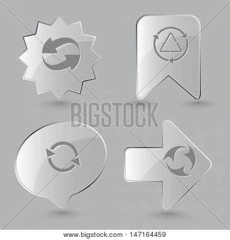 4 images of recycle symbol. Recycle symbols set. Glass buttons on gray background. Vector icons.