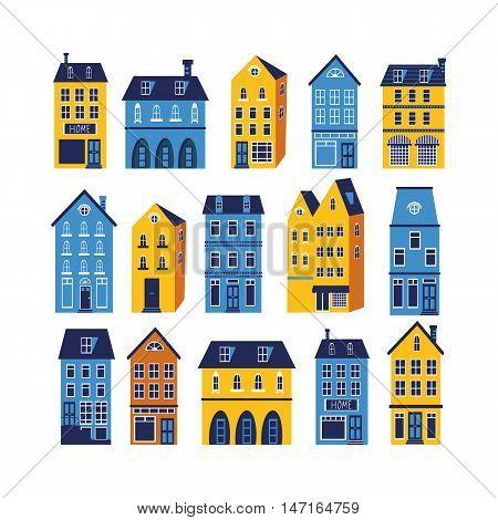 Cute sity set. Illustration in vector format